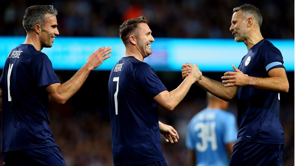 ALL LEVEL: Robbie Keane celebrates with Ryan Giggs and Robin van Persie after pulling one back for the PL All Stars