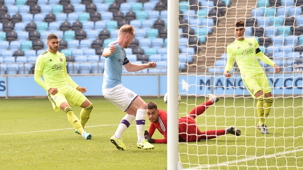 ON TARGET: Tommy Doyle strikes to fire City ahead
