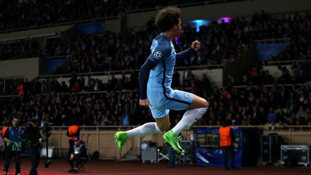 JUMPING FOR JOY: Sane's second half strike swung the tie back briefly in City's favour