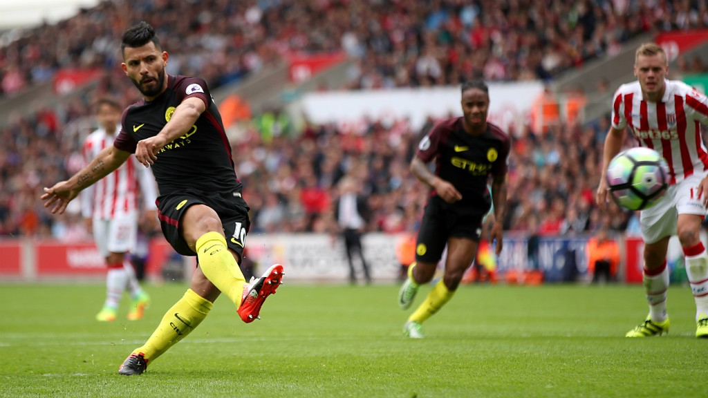ON FIRE: Sergio Aguero opens the scoring from the penalty spot