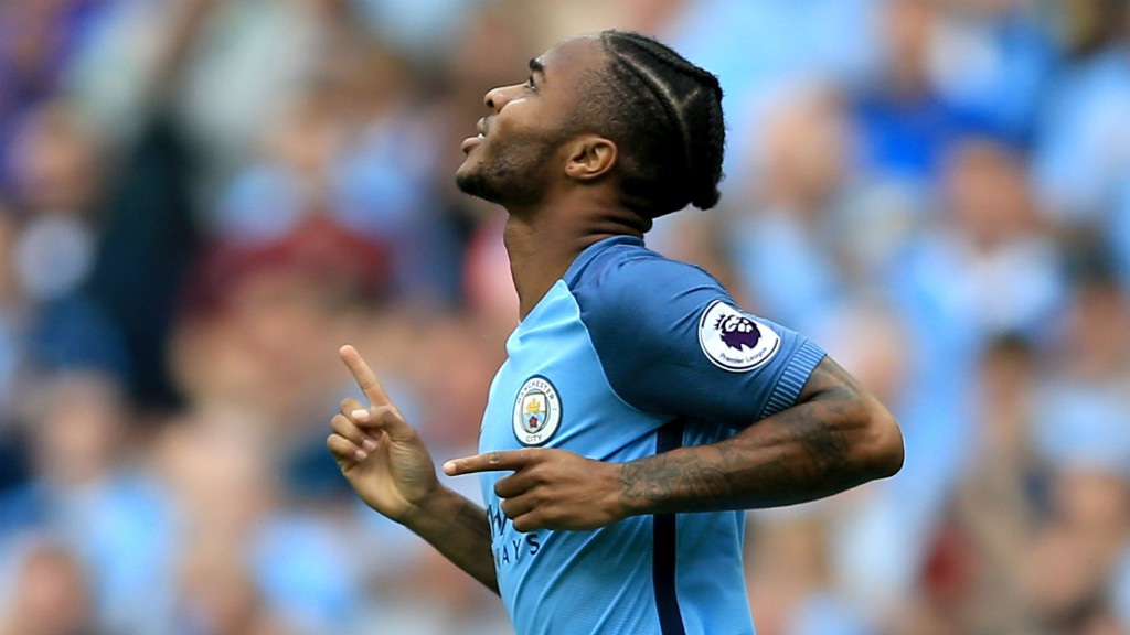 LOOKING UP: Raheem Sterling points to the sky in celebration