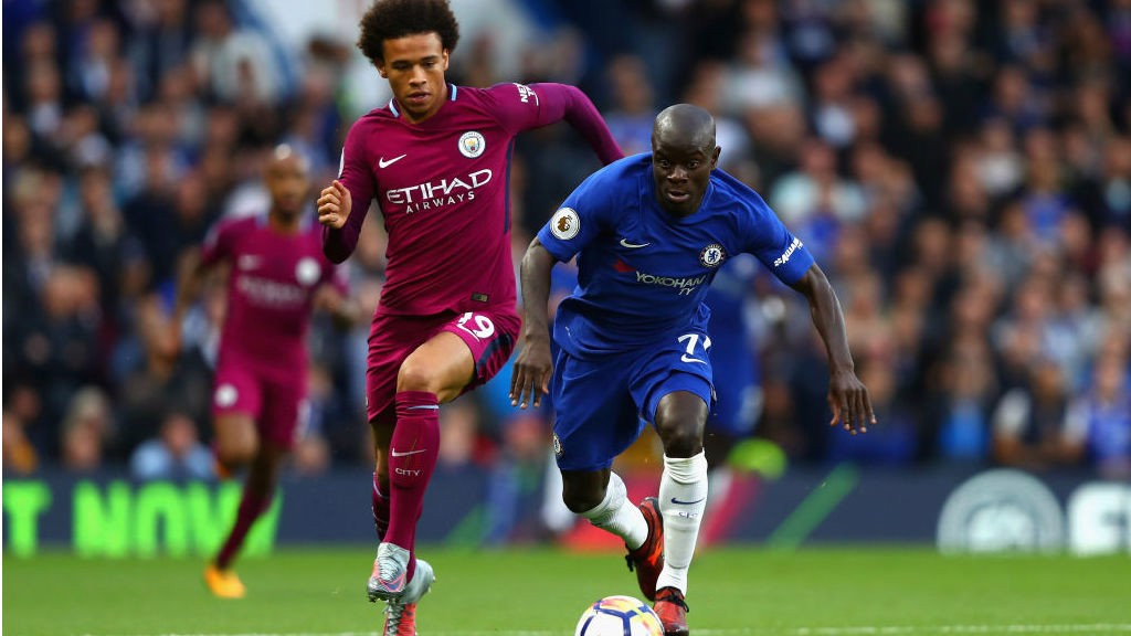 ON YOUR MARKS: Leroy Sane cases down N'golo Kante