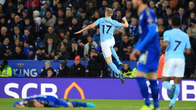 JUMP FOR JOY: De Bruyne celebrates his screamer at the King Power Stadium