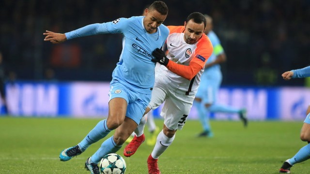 ON THE BALL: Danilo is harried by Shakhtar left-back Ismaily in the first half.