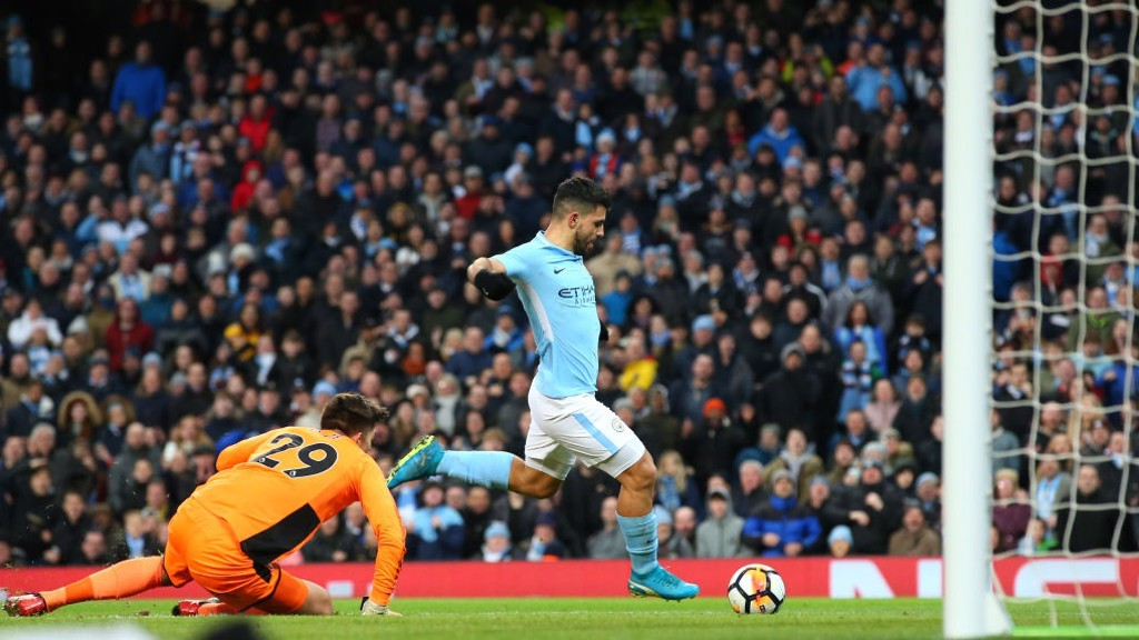 SERGIO, SERGIO: The Argentine scores his second is as many minutes to put City in front.