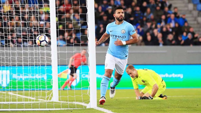 GOAL STRIKE: Sergio Aguero celebrates after scoring City's second against West Ham