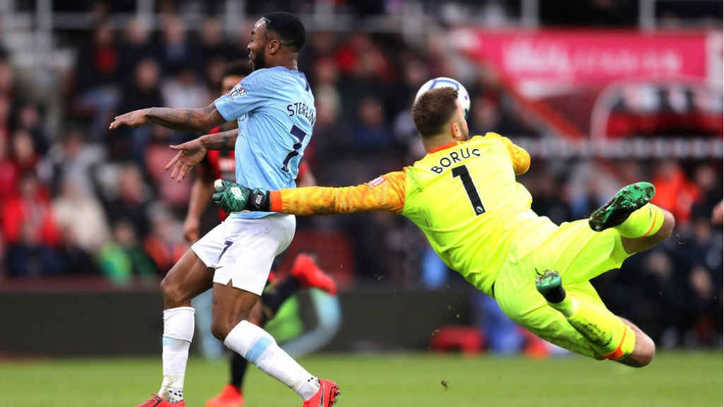 ALMOST... Bournemouth keeper Boruc just beats Raheem to the ball as City sweep forward in search of a second