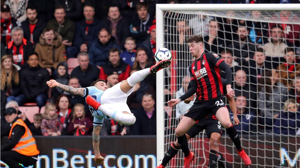 ACROBAT: Nico takes to the air to execute a superb overhead kick - but his effort flew just over the bar