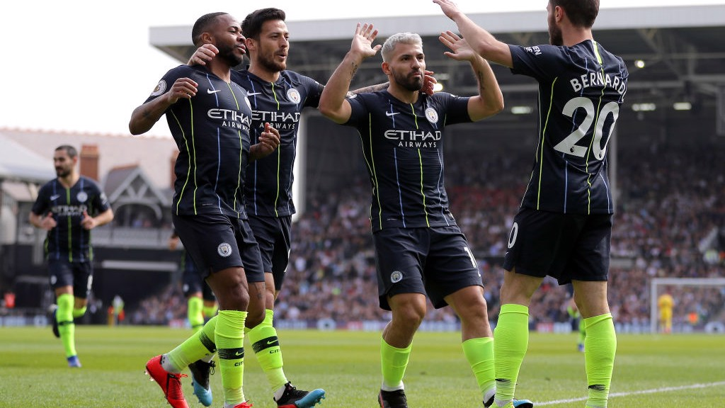 PERFECT START: The team celebrates Bernardo Silva's opener