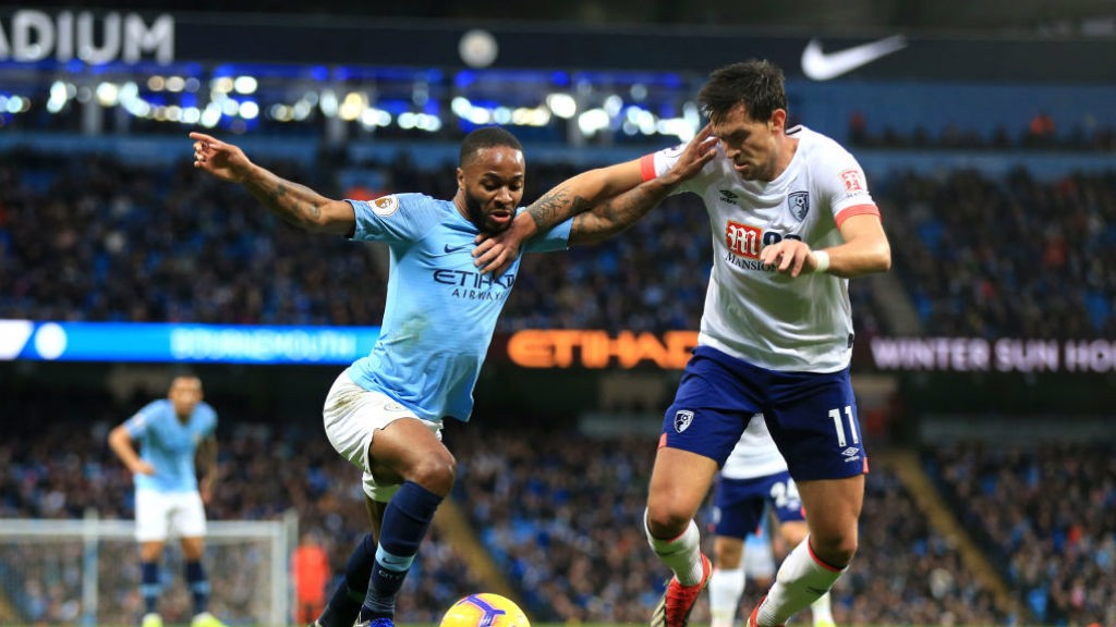 STERLING WORK: Raheem tries to go past Charlie Daniels EIGHT