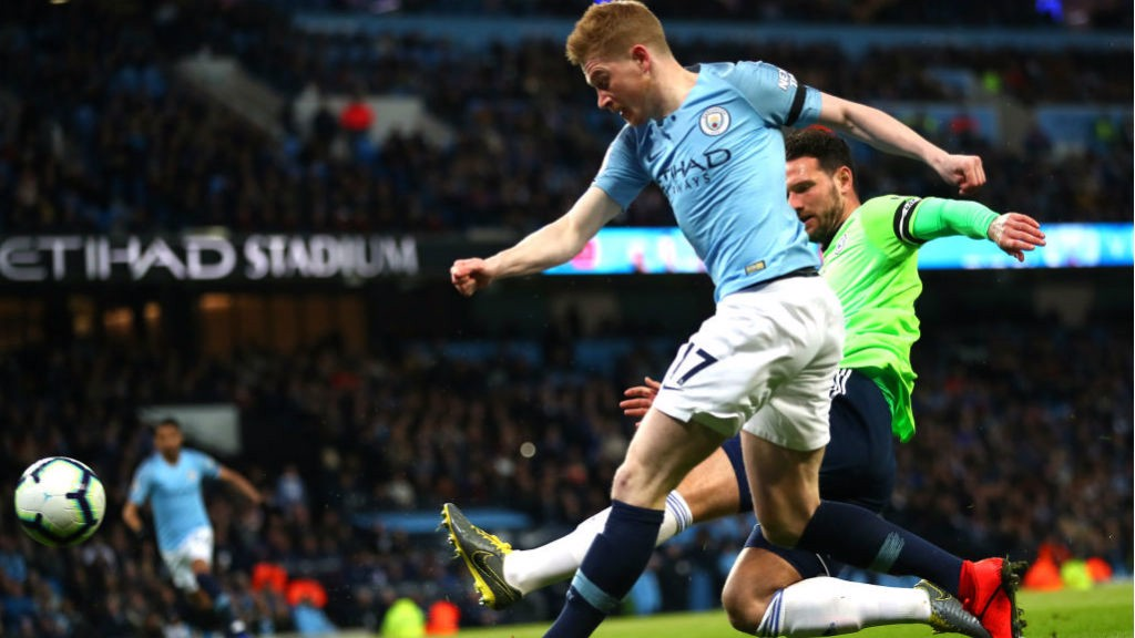 STUNNER: Kevin De Bruyne rifles home City's superb opening goal