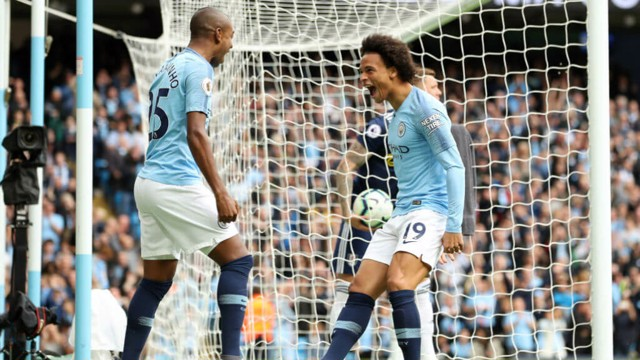 EARLY GOAL: Sane put City ahead after just two minutes