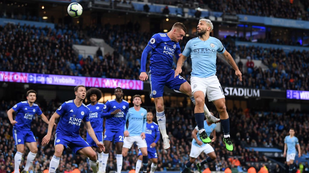 CLOSE: Sergio Aguero sees his header pushed onto the bar by Schmeichel.