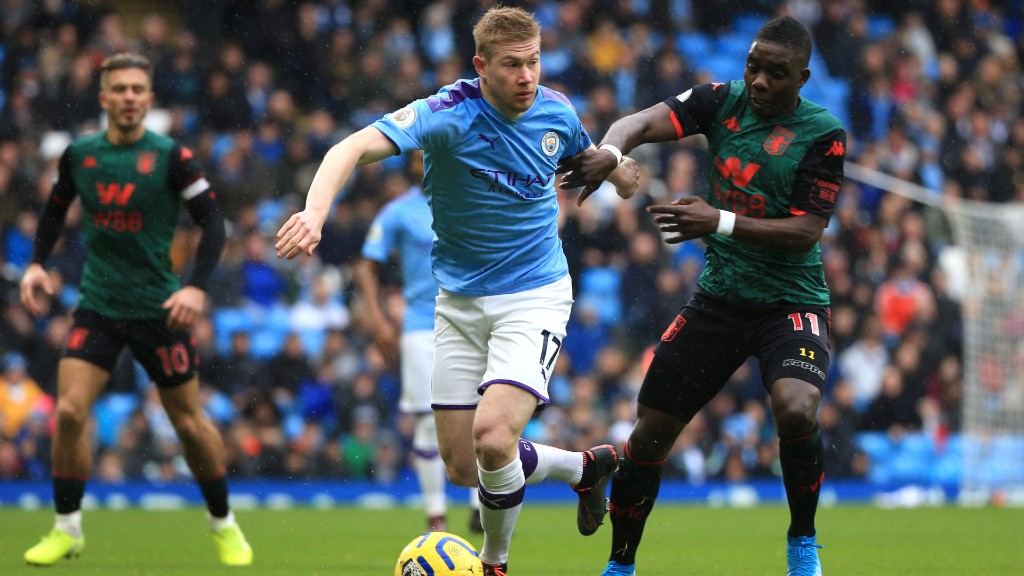 DANGER MAN: Kevin De Bruyne is monitored closely by Marvelous Nakamba
