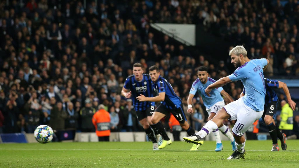 KUNDERFUL: Aguero makes no mistake from the spot