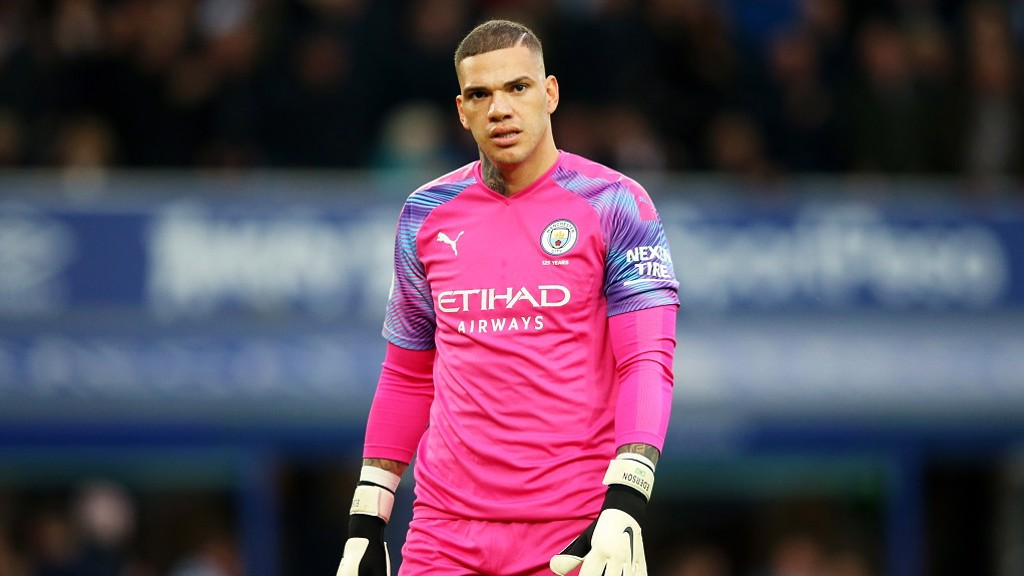 NOT HAPPY: Ederson annoyed after the Toffees' leveller