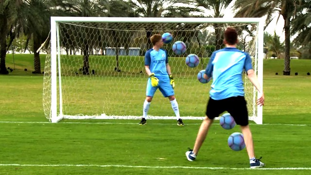 WATCH OUT: De Bruyne gets a face full of football