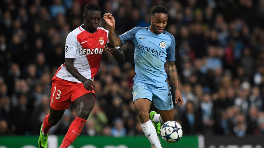 TOUGH BATTLE: Mendy and Sterling last faced each other when Monaco and City clashed in last season's Champions League