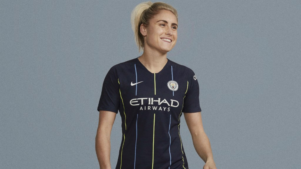 ACTION STATIONS: Steph Houghton cuts a dash in our new 2018-19 away strip