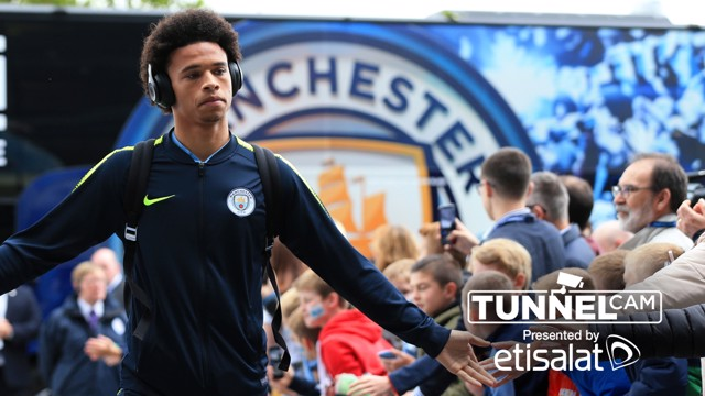 TUNNEL VISION: Leroy Sane arrives at the Etihad