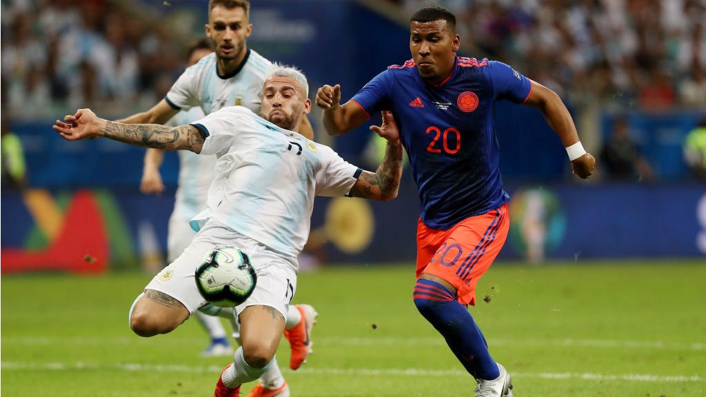 CRUNCH CLASH: Nicolas Otamendi looks to deny Colombia's Roger Martinez
