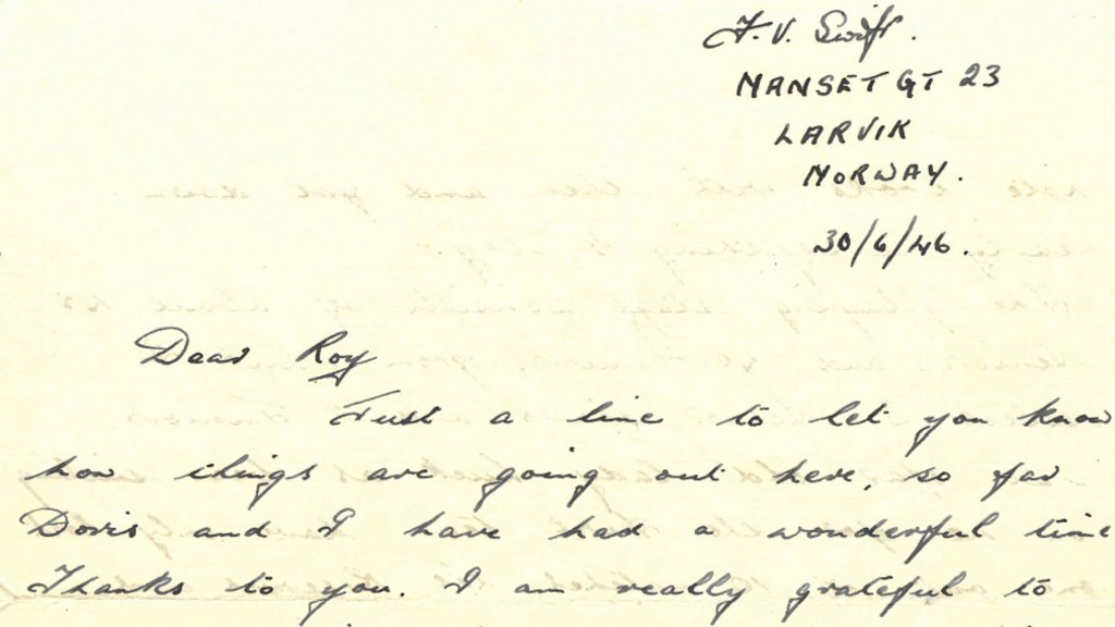 TALK TO FRANK: Frank Swift's letter thanking his friend - lovely handwriting!